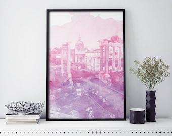 Roman Forum, Rome, Italy Watercolour Print Wall Art | 4x6 5x7 A4 A3 A2