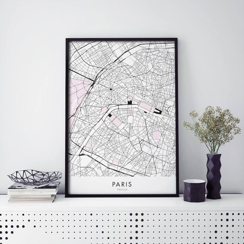 A4 Map Of France.Paris France Art City Map Print Wall Art A4 A3 A2 A1