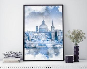 Valletta, Malta Watercolour Print Wall Art | 4x6 5x7 A4 A3 A2