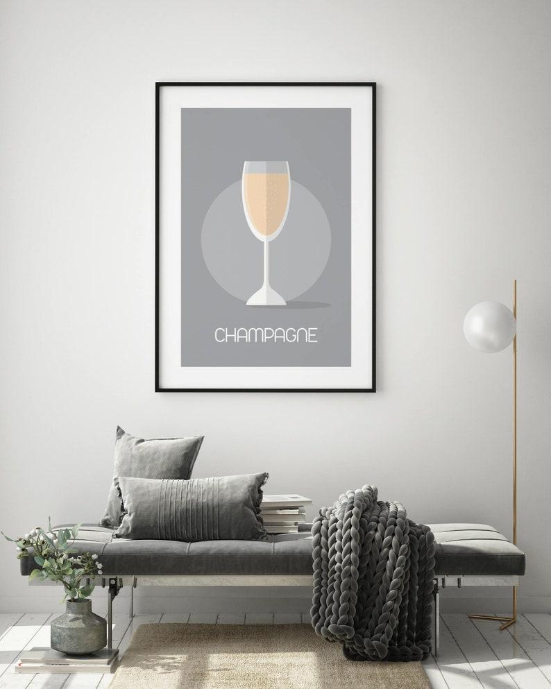 4x6 5x7 A4 A3 A2 A1 Champagne Illustrative Print Wall Art