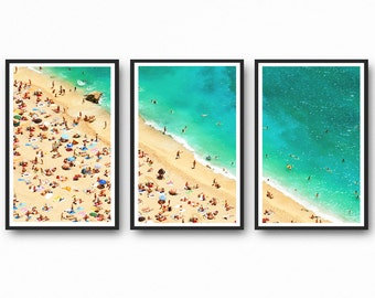 Aerial Beach Photography, Beach Wall Art Print, Triptych Wall Art, Set of 3 Prints, Beach Print, Coastal Wall Art, Beach Art, Large Wall Art
