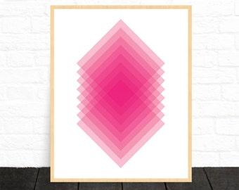 Pink Geometric Art, Pink Wall Art, Diamond Art Print, Geometric Wall Art, Pink Print, Minimalist Art, Modern Print, Home Decor, Downloadable