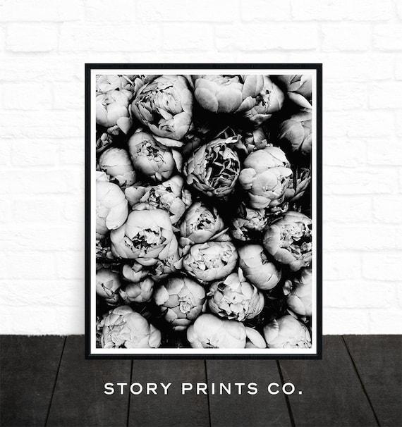 Peony Print Flower Print Peony Art Black And White Poster Etsy