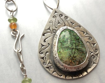 Orange and Green Color Change Monarch Opal Statement Necklace, Cultured Opal Necklace, Handmade Artisan Silver Jewelry