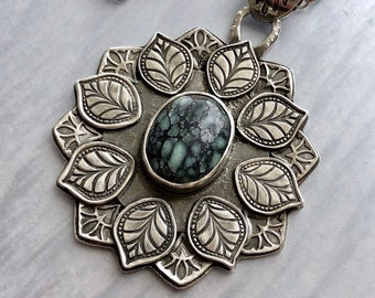 Artemis Collection: Natural Hubei Turquoise Necklace with Layered Stamped Leaf Frame, Artisan Silver Mandala Necklace, Silversmith Jewelry