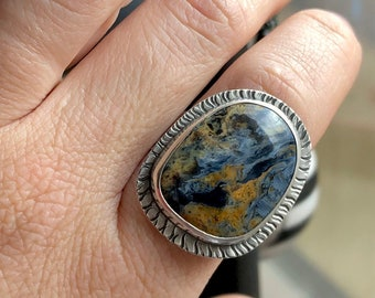 Athena Collection: Pietersite Ring with Textured Frame and Wide Band, Chatoyant Blue and Yellow Pietersite, Unique Stone Statement Ring