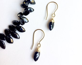 Black Spinel Earrings, Marquise Spinel Drops, Spinel drop earrings, Black Drop Earrings, Luxe Quality Gemstone Earrings, Boho Luxe Gemstones
