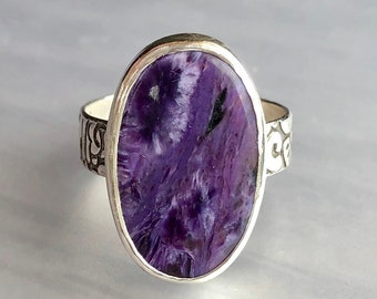 Aphrodite Collection: Purple Chaorite Ring with Floral Patterned Band, Collector's Quality Russian Chaorite, Rustic Woodcut Style Band