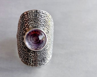 Pink Amethyst Mandala Ring, Amethyst Saddle Ring, Handcrafted Silver Jewelry, Sterling Silver Amethyst Ring, Comfortable Big Ring Size 8