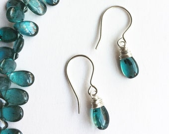 Imperial Kyanite Earrings, Kyanite Drops, kyanite drop earrings, Teal Gem Earrings, Luxe Quality Gemstone Earrings, Boho Luxe Gemstone Drop