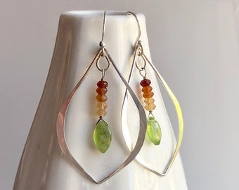 Lotus Collection: Hammered Leaf Vesuvianite and Hessonite Garnet Earrings, Large Light Gem Earrings, Silver Leaf Hoops with Bright Gemstones