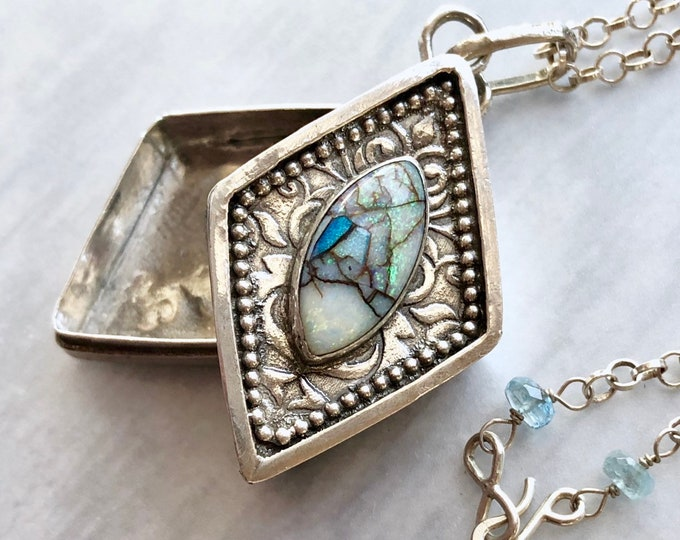 Featured listing image: Monarch Opal Locket Box Necklace, Pill Box Necklace, Artisanal Silver Jewelry, Hand Fabricated Silverwork Necklace Contemporary Jewelry
