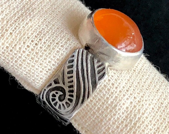 Featured listing image: Nouveau Deco Collection: Carnelian Ring with Wide Patterned Band, Elegant Statement Ring with Bright Orange Stone, Tribal Swirl Spiral