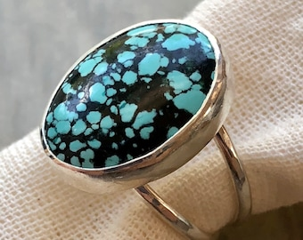 Lotus Collection: Turquoise Statement Ring with Spiderweb Hubei Turquoise, Split Shank Turquoise Ring, Clean Smooth Bezel, Double Band Ring