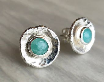 Recycled Silver Shell Post Earrings with Amazonite, Artisanal Silversmith Work, Modern Rustic Hammered Silver and Seafoam Green Gemstone