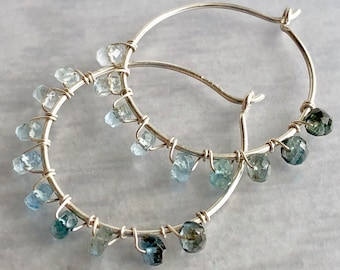 Luxe Gemstone Collection: Moss Aquamarine Hoops, Blue Ombre Shaded Gem Earrings, Wire Wrapped Gemstone Rondelles on Sterling Hoops