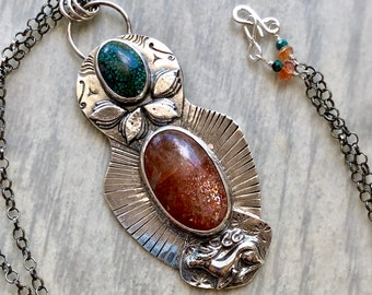 Artemis Collection: Sunstone and Turquoise Pendant, Deer and Lotus Blossoms, Refined Goddess Jewelry, Hand Stamped Silver Collector's Piece