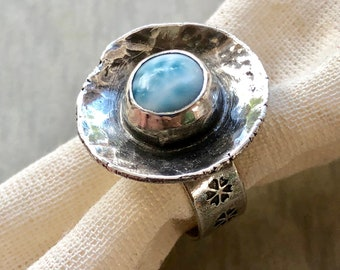 Recycled Silver Larimar Gem Shell Ring, Artisanal Silversmith Ring, Modern Rustic Hammered Silver and Gemstone Ring w/ Sakura Stamped Band