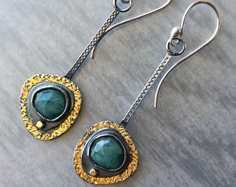 Emerald, Sterling Silver, 24k Gold Keum-Boo, and 18k Gold Mixed Metal Earrings; Modern Asymmetrical Gold and Silver Emerald Earrings