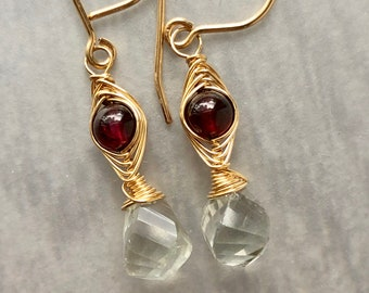 Garnet and Green Amethyst Herringbone Woven Earrings, Contrasting Colors, Deep Red Garnet, Herringbone Woven Earrings, 14k Gold Fill