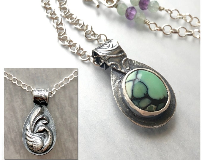 Featured listing image: Reversible Bird Pendant with New Lander, Variscite Chalcosiderite, Bird Talisman, High Quality Green Gemstone Necklace Handcrafted Silver
