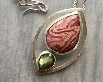 Lotus Collection: Modern Leaf Pendant with Rhodochrosite and Labradorite, Zen Jewelry, Modern Minimalist Nature Jewelry, Compact Silverwork