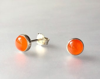 Carnelian and Sterling Silver Stud Earrings, Orange Gemstone Post Earrings, Handmade Silver Gemstone Jewelry, Natural Gemstone Posts