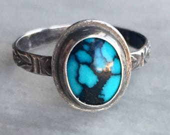 Aphrodite Collection: Turquoise Statement Ring, Size 8.5 Ring, Blue and Black Hubei Turquoise, Floral Band, Black Matrix Turquoise Ring