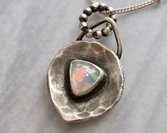 Recycled Silver Ethiopian Opal Necklace, Modern Rustic Hammered Silver Artisanal Silverwork Pendant with Trillion Opal, Handcrafted Silver