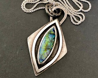 Nouveau Deco Collection: Monarch Opal Pendant, Diamond Shaped Sterling Pendant with Cultured Opal, OOAK Artisanal Silversmith Pendant