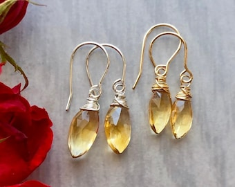Luxe Gemstone Collection: Citrine Marquise Drop Earrings, Luxe Gemstone Drops, Large Golden Gem Earrings, Yellow Gemstone Earring Gift