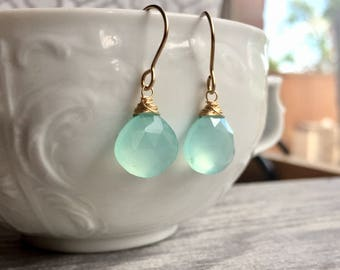 Aqua Chalcedony Earrings, Chalcedony Drops, Gemstone Drops, Aqua Earrings, Luscious Drop Earrings, Gender Reveal Gift for Baby Boy Mom Gift