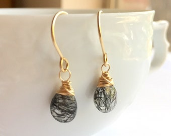 Luxe Gemstone Collection: Tourmalinated Quartz Earrings, Rare Black Rutile Drops, Black Tourmaline, High Quality Tourmalinated Earrings