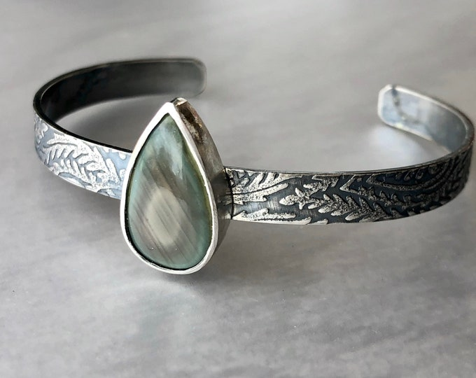 Featured listing image: Imperial Jasper Cuff with Leaf Patterned Band, Imperial Jasper Bracelet, Beautiful Unique Patterned Stone, Handcrafted Silver Jewelry