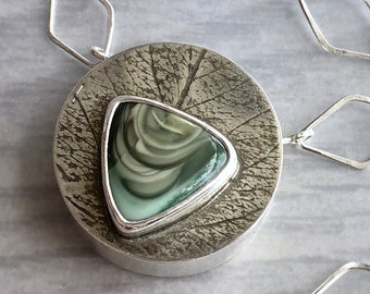 Silverwork Collection: Imperial Jasper Hollowform Circle Triangle Necklace with Leaf Imprint and Key Clasp, Modern Botanical Jewelry