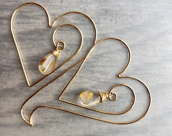 Aphrodite Collection: Rutilated Quartz Heart Hoop Threader Earrings, Romantic Jewelry Gift, Unique Heart Earrings with High Quality Gemstone