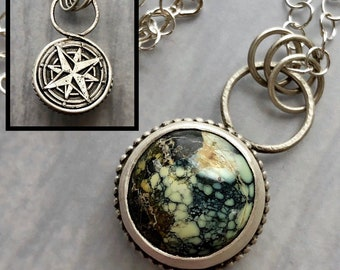Silverwork Collection: North North East Reversible Compass Rose Necklace with Cassiopeia Variscite, Unique Life Journey Wearable Art Pendant