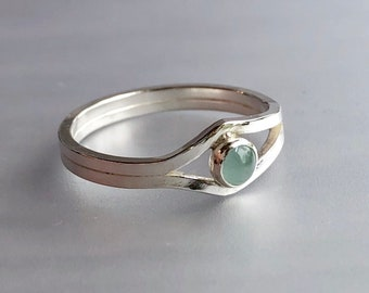 Lotus Collection: Dainty Modern Aquamarine Ring with Asymmetrical Band, Double Band Square Wire Split Shank March Birthstone Ring
