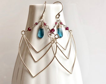 Nouveau Deco Collection: Imperial Kyanite and Garnet Chevron Earrings, Art Deco Inspired Unique Handcrafted Chandelier Statement Earrings