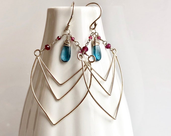 Featured listing image: Nouveau Deco Collection: Imperial Kyanite and Garnet Chevron Earrings, Art Deco Inspired Unique Handcrafted Chandelier Statement Earrings