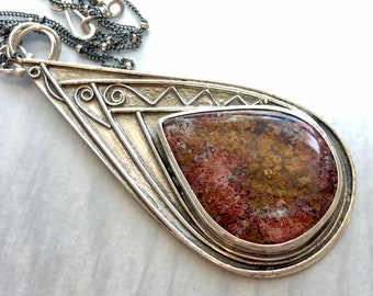 Nouveau Deco Collection: Large Scenic Moss Agate Statement Necklace, Huge Teardrop Pendant with Red Moss Agate, OOAK Artisanal Silverwork