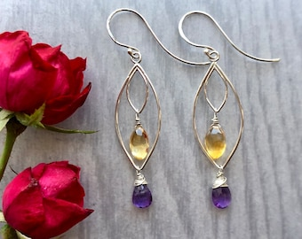Lotus Collection: Amethyst and Citrine Leaf Chandelier Earrings, Gemstone Silver Nested Leaf Earrings, Zen Gift, Modern Minimalist Jewelry