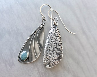 Aquamarine Handcrafted Silver Moth Wing Earrings with Patterned Back, Unusual Jewelry Gift, Butterfly Jewelry, Fairy Wing Earrings