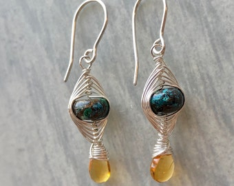 Herringbone Collection: Azurite and Citrine Earrings, Contrasting Colors, Deep Yellow Citrine, Herringbone Woven Earrings, Sterling Silver