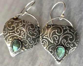 Aphrodite Collection: Labradorite Earrings with Swirl Pattern, Patterned Textured Silver, Handmade Silver Dangle Earrings, Elegant Earrings