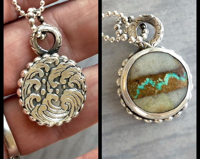 Featured listing image: Silverwork Collection: Waves and Mountains, Land and Sea, Reversible Turquoise Necklace, Collector's Stone, Unique Wearable Art Pendant