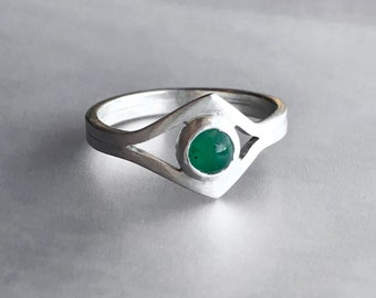 Modern Emerald Ring, Low Profile Comfortable Ring, May Birthstone, Asymmetrical Art Deco Inspired Band, Handcrafted Brushed Silver Jewelry
