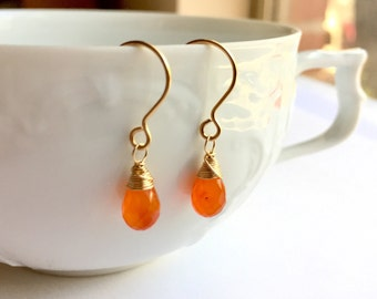 Carnelian Earrings, Carnelian Drops, Orange Gemstone Earrings, Carnelian Drop Earrings, Orange Teardrop, Boho Luxe Gift For Her Under 30