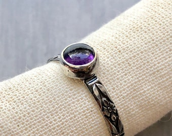 Aphrodite Collection: Amethyst Floral Stacking Ring, Silver Gemstone Petite Ring, Oxidized Silver Ring, February Birthstone Ring