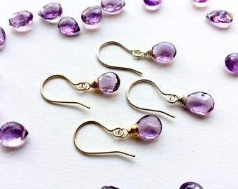 Amethyst Earrings, Amethyst Drops, Gemstone Drops, Violet Earrings, Luscious Drop Earrings, Purple Teardrop Earrings, Gift for Her under 30
